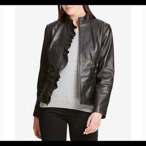 DKNY Leather Moto Ruffle Jacket